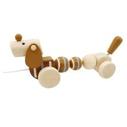 Drevená hračka na ťahanie - Psík
