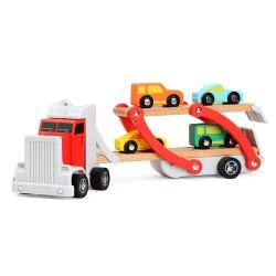 Drevený kamión na prepravu áut