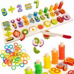 ISO Trade 14844 Drevená vkladačka ovocie-čísla-kruhy
