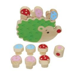 Drevená rovnováha - ježko s hríbikmi