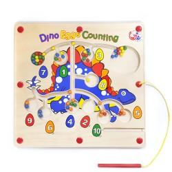 VIGA Drevený magnetický labyrint - Dinosaurus