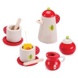 VIGA Drevená čajová súprava - natur-červená