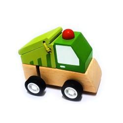 Drevené autíčko na zotrvačník - smetiarske