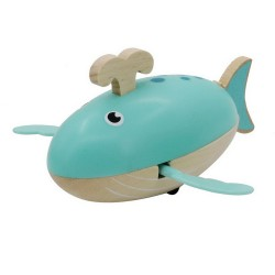 Drevená hračka na vodu - veľryba modrá