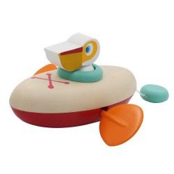 Drevená hračka na vodu - pelikán v kanoe