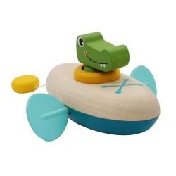 Drevená hračka na vodu - krokodíl v kanoe