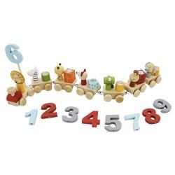 VIGA Drevený narodeninový vláčik so zvieratkami a číslicami