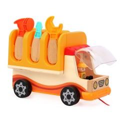 Drevené otvárateľné autíčko s náradím