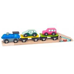 Mentari drevený nákladný vláčik - na prepravu áut