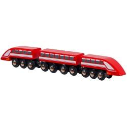 Drevený magnetický rýchlovlak - červený