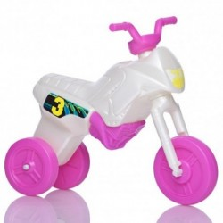 Detské odrážadlo - Enduro motorka malá - bielo-ružová