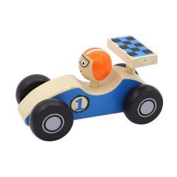 Drevené pretekárske autíčko so šoférom - modré