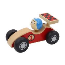 Drevené pretekárske autíčko so šoférom - červené