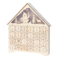 Drevený adventný kalendár s LED podsvietením