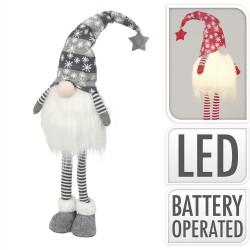 Vianočná dekorácia - škriatok šedý 59 cm-ový s LED podsvietením