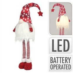 Vianočná dekorácia - škriatok červený 59 cm-ový s LED podsvietením