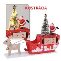 Drevený adventný kalendár - Mikulášske sane s LED podsvietením