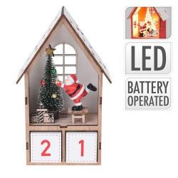 Drevený adventný kalendár - Mikulášsky domček s LED podsvietením - natur