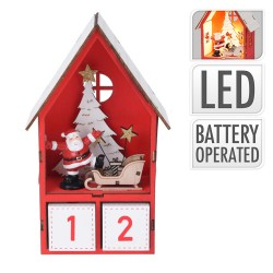 Drevený adventný kalendár - Mikulášsky domček s LED podsvietením - červený