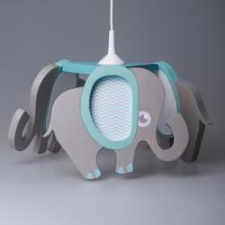 Detská stropná lampa 3-ramenná - sloník šedo-tyrkysový