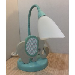 Detská stolná lampa - sloník šedo-tyrkysový