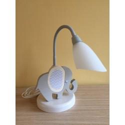 Detská stolná lampa - sloník šedo-biely