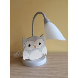 Detská stolná lampa - sova šedo-biela