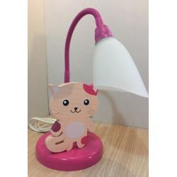 Detská stolná lampa - mačička ružová-pink