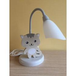 Detská stolná lampa - mačička šedá