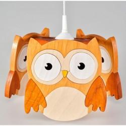 Detská stropná lampa 3-ramenná - sova hnedá