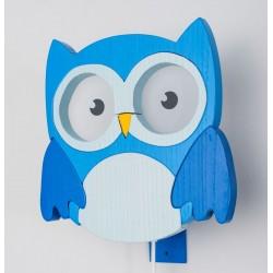 Detské nástenné svietidlo - sova modrá