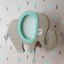 Detské nástenné svietidlo - sloník tyrkysový