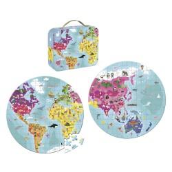 Janod Detské obojstranné puzzle Zemeguľa v kufríku 208 ks J02655