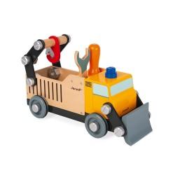 Janod Drevené nákladné auto a stavebnica BricoKids s náradím