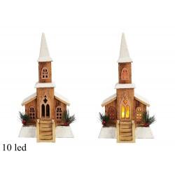 Drevená dekorácia s LED podsvietením - Kostol 42 cm-ový