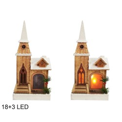 Drevená dekorácia s LED podsvietením - Kostol 42 cm-ový 18+3 LED