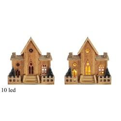 Drevená dekorácia s LED podsvietením - Kostol 30 cm-ový 10 LED