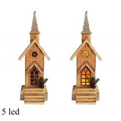 Drevená dekorácia s LED podsvietením - Kostol 41 cm-ový 5 LED