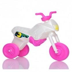 Detské odrážadlo - Enduro motorka veľká - bielo-ružová (magenta)