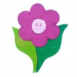 Drevená dekorácia - kvietok fialový