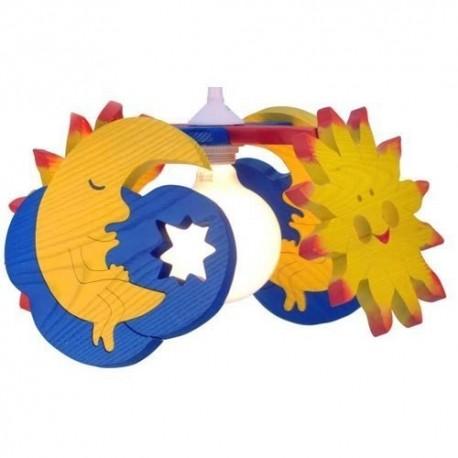 Detská stropná lampa 4-ramenná mesiačik/slniečko