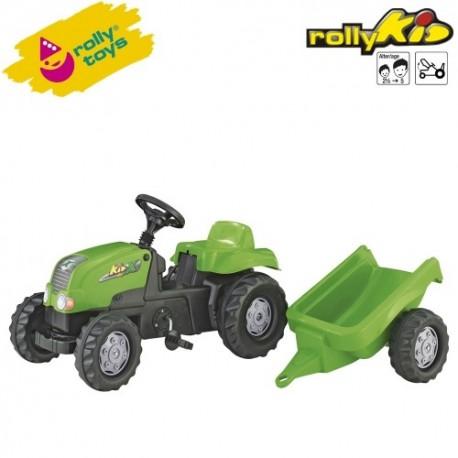 Rolly Toys Detský šlapací traktor Kid-X s vlečkou - zelený