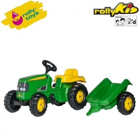 Rolly Toys Detský šlapací traktor Kid John Deere s vlečkou