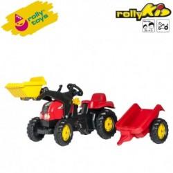 Rolly Toys Detský šlapací traktor Kid-X s vlečkou a lyžicou - červený