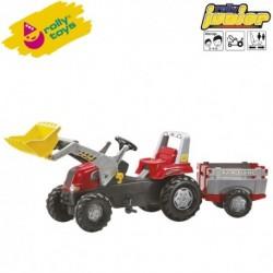 Rolly Toys Detský šlapací traktor Junior s vlečkou a lyžicou