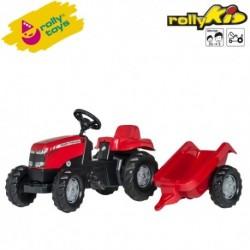Rolly Toys Detský šlapací traktor Kid Massey Ferguson s vlečkou
