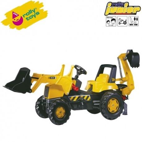 Rolly Toys Detský šlapací traktor Junior JCB s lyžicou a s bagrom