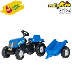 Rolly Toys Detský šlapací traktor Kid New Holland T 7040 s vlečkou