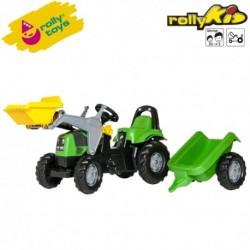 Rolly Toys Detský šlapací traktor Kid Deutz-Fahr s vlečkou a lyžicou