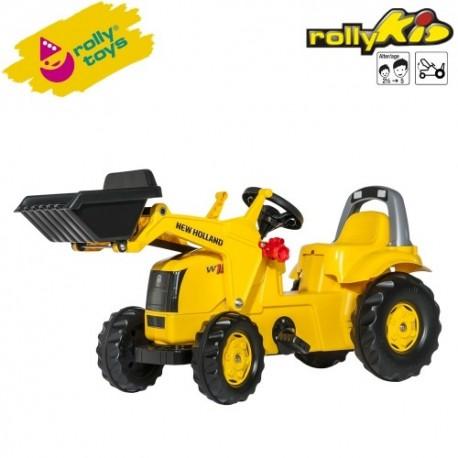 Rolly Toys Detský šlapací traktor Kid New Holland Construction s lyžicou